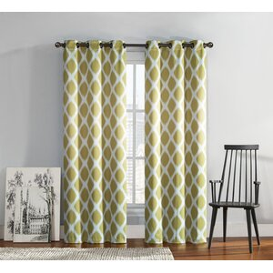 Coley Geometric Room Darkening Thermal Grommet Curtain Panels (Set of 2)