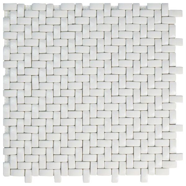 Esamo Weave 0.48 x 0.96 Glass Mosaic Tile in White by EliteTile