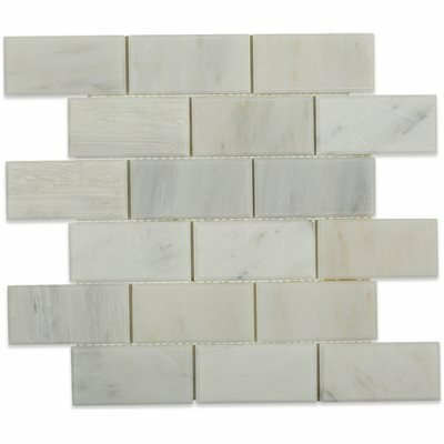 Oriental 2 x 4 Beveled Marble Mosaic Tile in Gray by Splashback Tile
