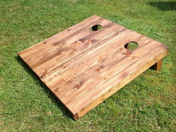 Stained Wood Slat Cornhole Board (Set of 2) by All American Tailgate