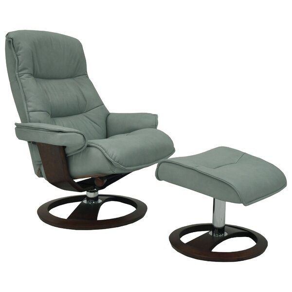 Big Sur Ergo Manual Swivel Recliner with Ottoman by Omnia Leather Omnia Leather