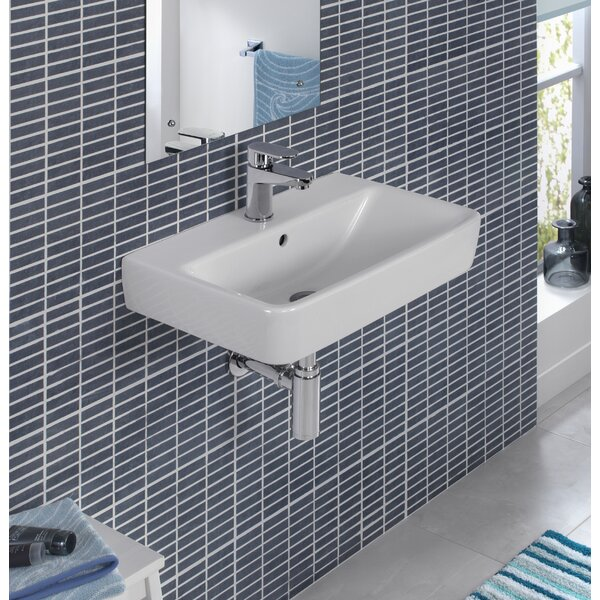 Comprimo Ceramic 22 Wall Mount Bathroom Sink with Overflow by Bissonnet