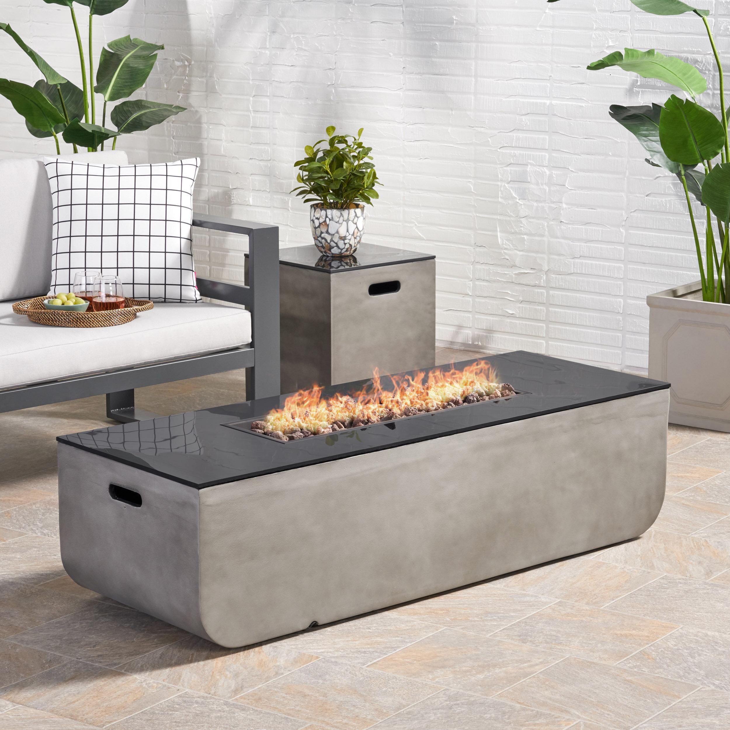 Ebern Designs Luvana Outdoor With Tank Holder Concrete Propane Fire Pit Reviews Wayfair
