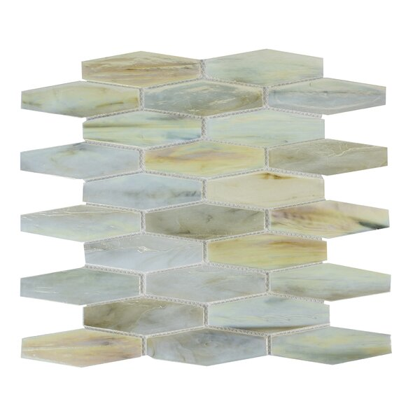 Esagono 1.5 x 4.75 Glass Mosaic Tile in Cream by Byzantin Mosaic
