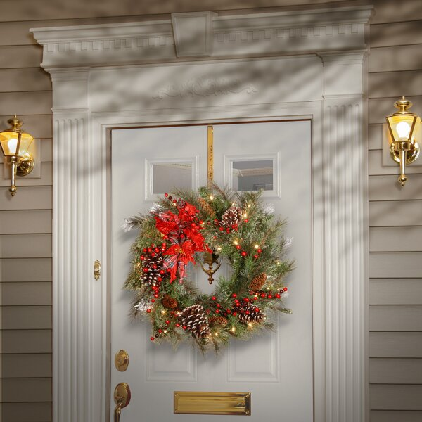 Tartan Plaid Wreath with 50 White LED Lights by Andover Mills
