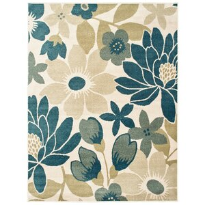 Beadles Bold Bouquet Floral Ivory/Blue Area Rug