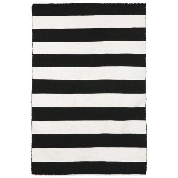 Currin Striped Handwoven Flatweave Black Indoor/Outdoor Area Rug