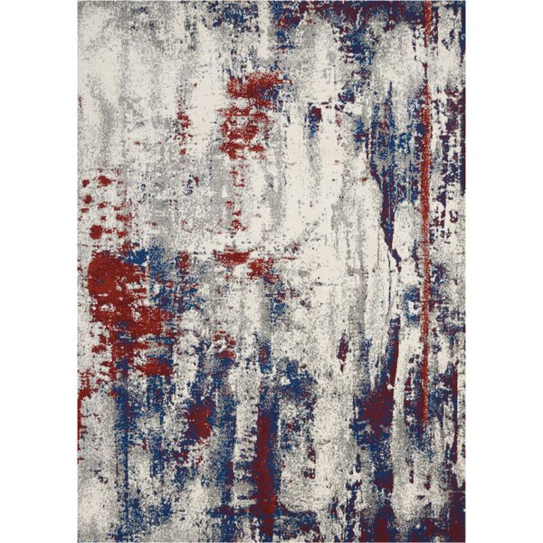 Heffernan Abstract Ivory/Blue/Red Area Rug by Williston Forge