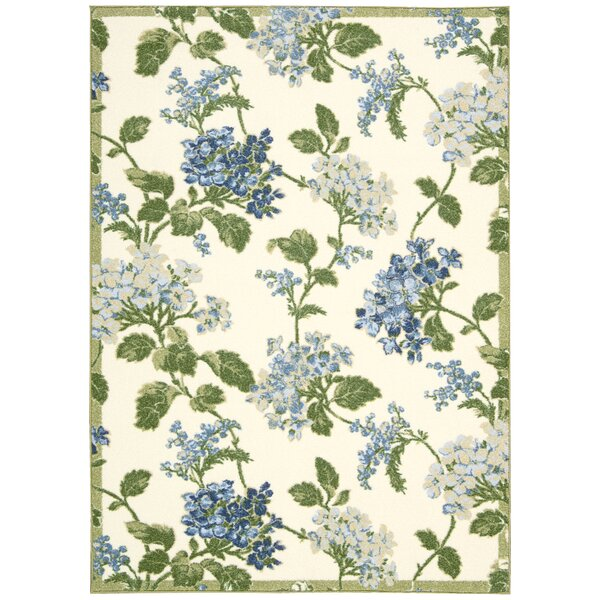 Aura of Flora Rolling Meadow Cream Area Rug by Waverly