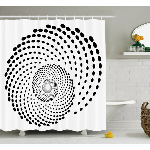 White Spiral Monochrome Black Shower Curtain by East Urban Home