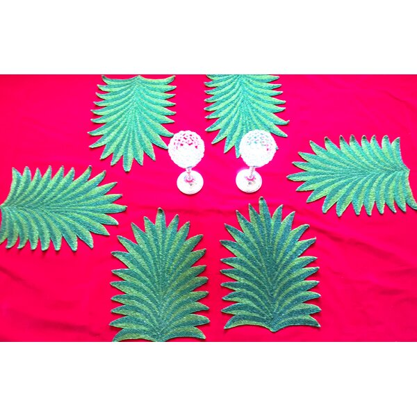 Glass Beaded Tropical Palm Tree Table Placemat (Set of 6) by GARIAN