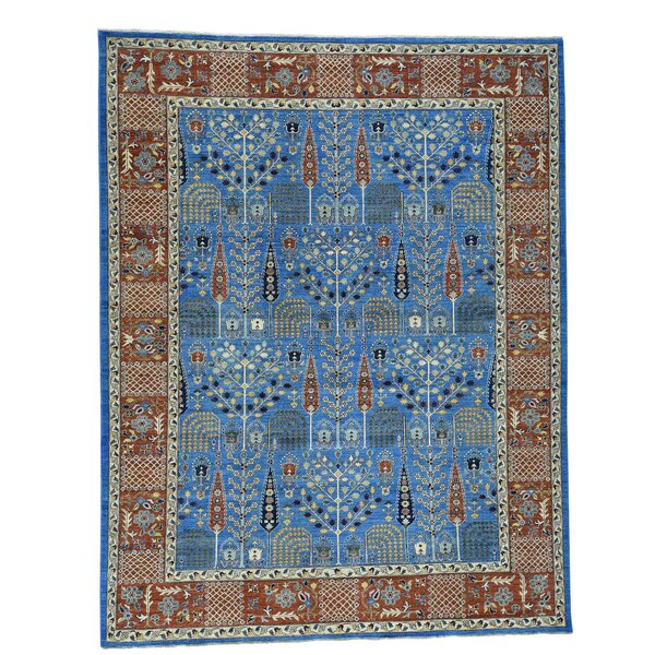 One-of-a-Kind Bagby Birds of Paradise Tree of Life Hand-Knotted Denim Blue Area Rug by Isabelline