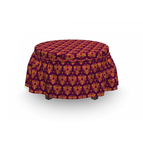 Symmetrical Floral Tile Ottoman Slipcover (Set Of 2) By East Urban Home