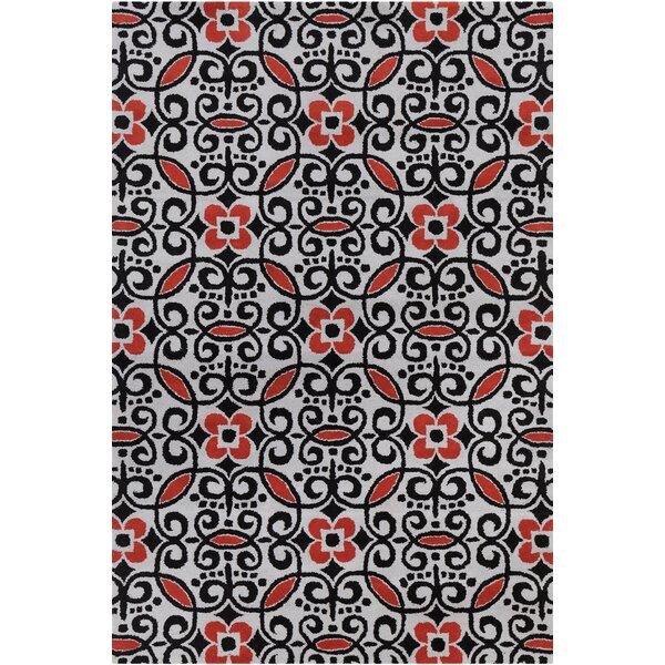 Trace Patterned Contemporary Wool Area Rug by Rosdorf Park