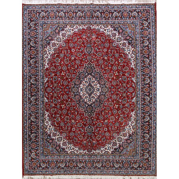 Koch Traditional Floral Kashan Classical Persian Red/Blue Area Rug by Isabelline