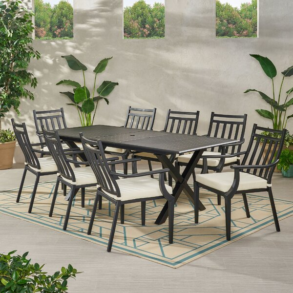 Delmar 9 Piece Dining Set with Cushions by Canora Grey