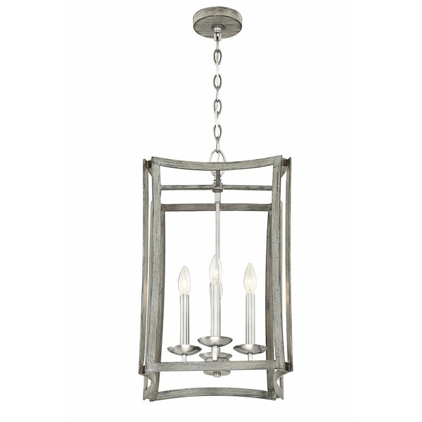 Cyprian 4 - Light Unique / Statement Rectangle / Square Chandelier By Highland Dunes