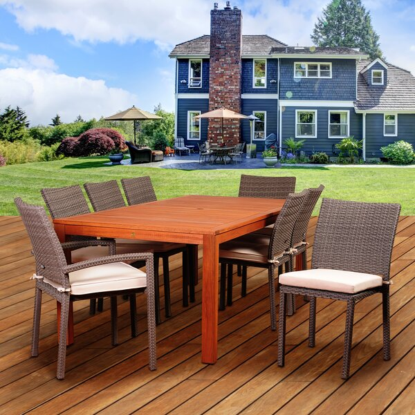 Medrano Vienna Eucalyptus 9 Piece Dining Set with Cushions by Longshore Tides
