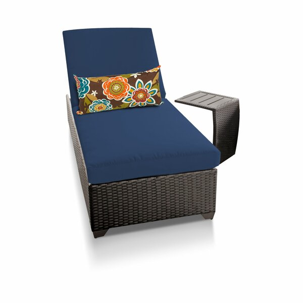 Reclining Chaise Lounge with Cushion and Table