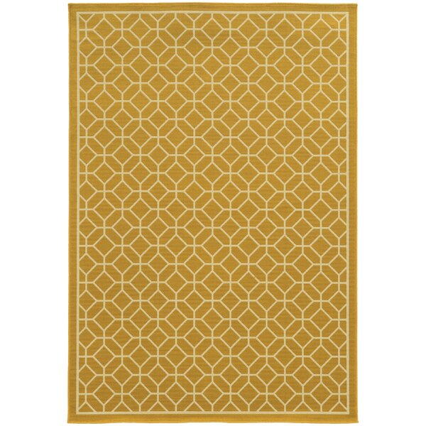 Liza Geometric Gold/Ivory Indoor/Outdoor Area Rug by Langley Street