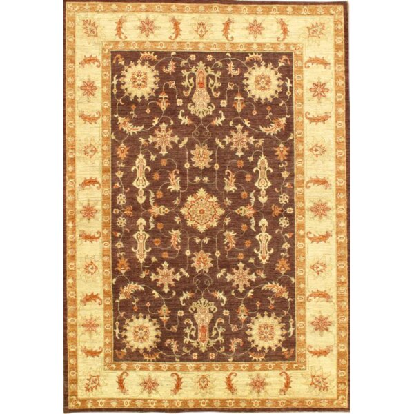 Farahan Hand-Knotted Wool Plumb/Ivory Area Rug by Pasargad NY