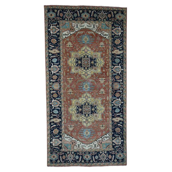 One-of-a-Kind Newcastle Re-Creation Wide Oriental Hand-Knotted Red Area Rug by Astoria Grand