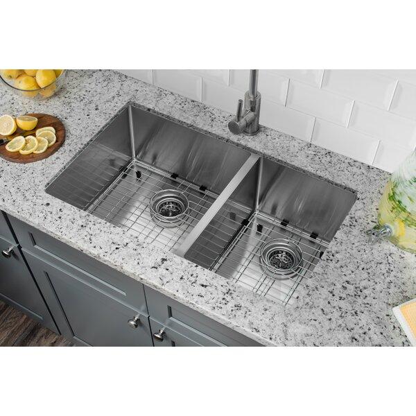 Radius 16 Gauge Stainless Steel 32'' x 19'' 60/40 Double Bowl Undermount Kitchen Sink