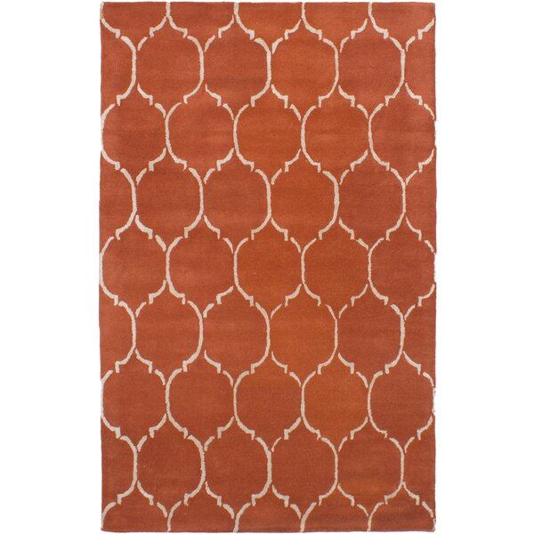 Helsley Hand-Tufted Dark Copper Area Rug by Mercer41