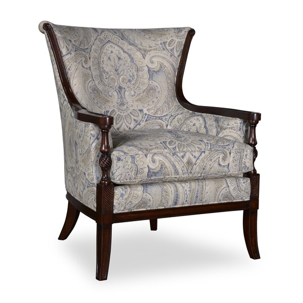 Marylhurst Linen Carved Wood Armchair by Canora Grey