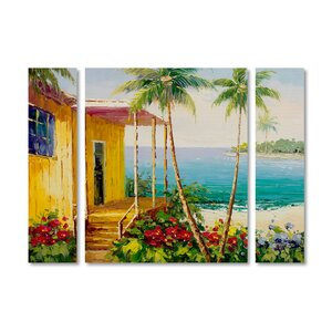 'Key West Villa' by Rio 3 Piece Painting Print on Wrapped Canvas Set by Trademark Fine Art