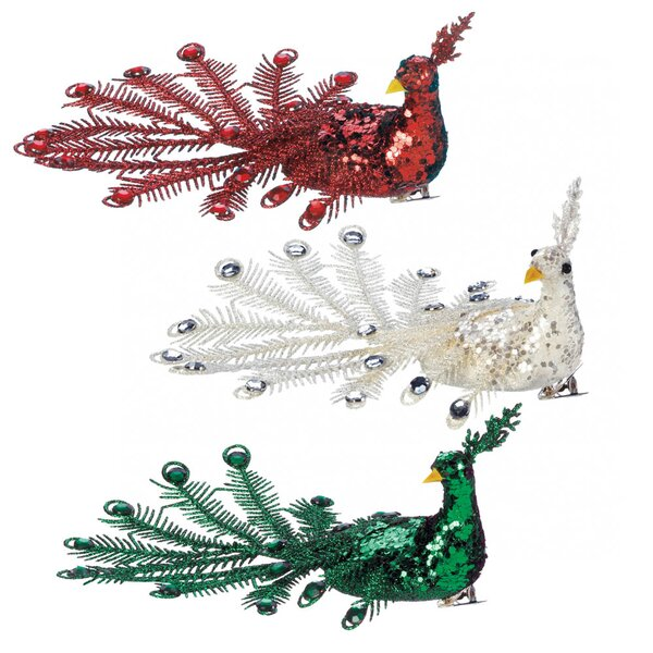 Festive Peacock 3 Piece Hanging Figurine Set by Mercer41