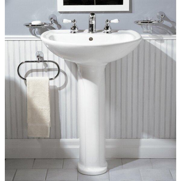 Cadet Ceramic 25 Pedestal Bathroom Sink with Overflow by American Standard