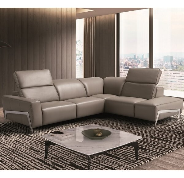 Norwell Leather Reclining Sectional By Orren Ellis