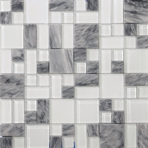 Lucente 13 x 13 Glass Stone Blend Pattern Mosaic Tile in Grazia by Emser Tile