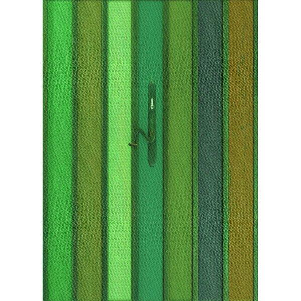 Thorfin Striped Wool Light Green/Dark Green Area Rug