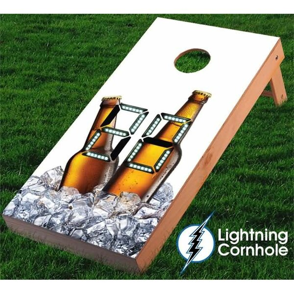 Electronic Scoring Beer Bottles and Ice Cornhole Board by Lightning Cornhole