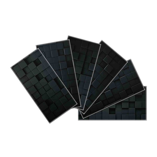 Crystal Skin 3 x 6 Glass Subway Tile in Black by SkinnyTile
