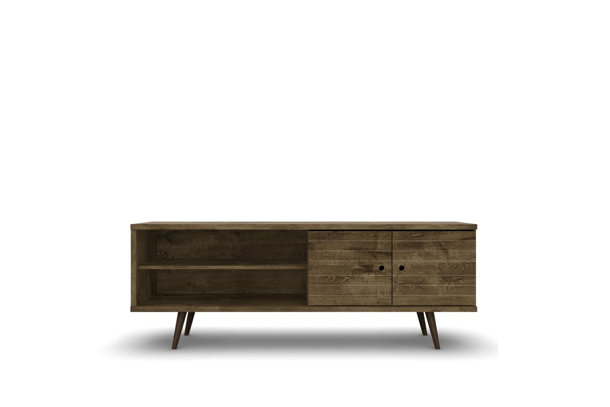 """Lewis 62.99"""" Mid Century - Modern TV Stand with 3 Shelves and 2 Doors in White  with Solid Wood Legs"""