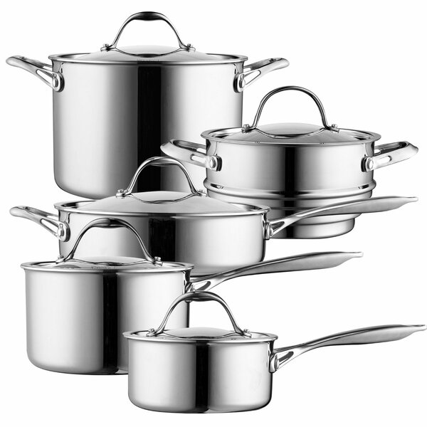 10-Piece Multi-Ply Clad Stainless Steel Cookware Set by Cooks Standard