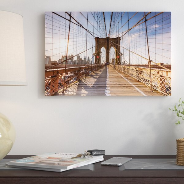 Brooklyn Bridge At Sunset New York City New York Usa Photographic Print On Wrapped Canvas By East Urban Home.