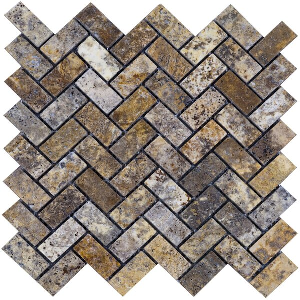 Scabos Herringbone Travertine Mosaic Tile in Multi by Epoch Architectural Surfaces