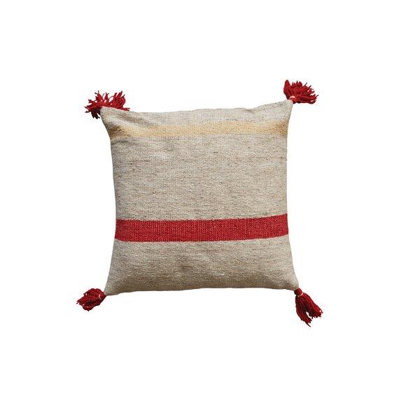 Eddins Square Stripped Wool Kilim Throw Pillow by Bungalow Rose