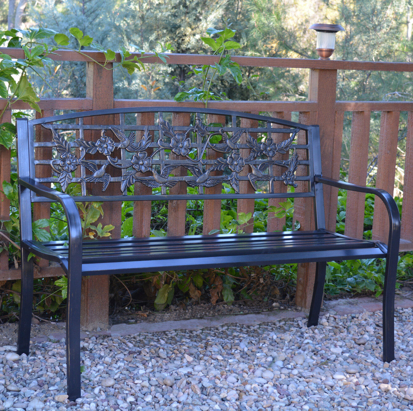 Jeco Inc Flowers And Bird Curved Back Metal Park Bench Reviews