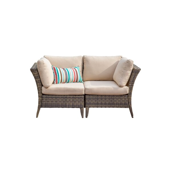 Southborough Outdoor 2 Piece Rattan Sectional Seating Group with Cushions by Highland Dunes