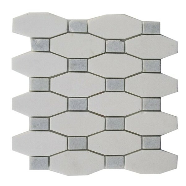 Diapson Dot Random Sized Marble Mosaic Tile in White Thassos/Blue Celeste by Splashback Tile
