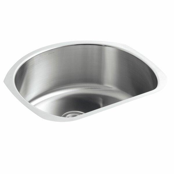 Undertone 24-1/4 L x 21-1/4 W x 9-1/2 Under-Mount Medium D-Shaped Single-Bowl Kitchen Sink by Kohler
