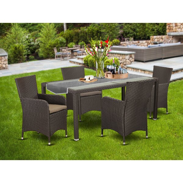 Peay Outdoor 5 Piece Dining Set with Cushions by Wrought Studio