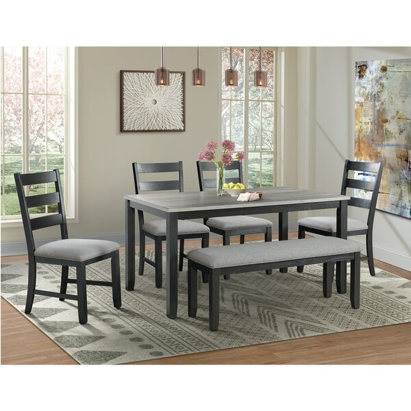 Mavis 6 Piece Solid Wood Dining Set by Alcott Hill