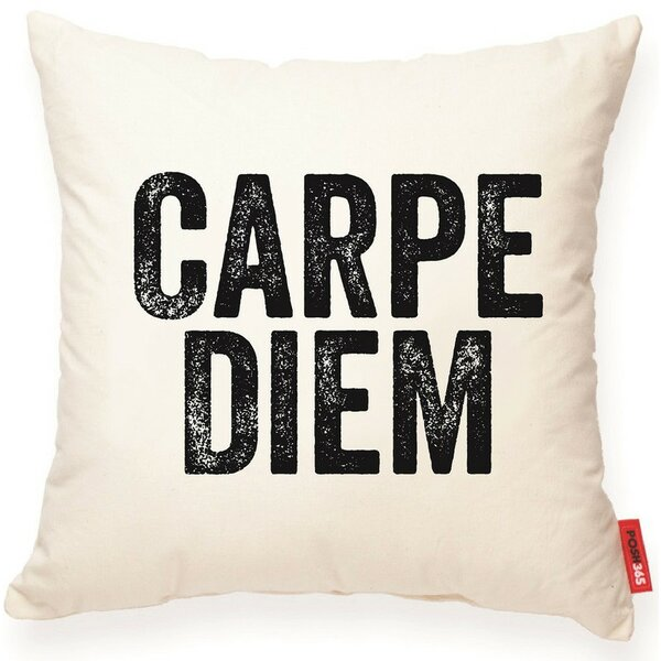 Expressive Carpe Diem Cotton Throw Pillow by Posh365