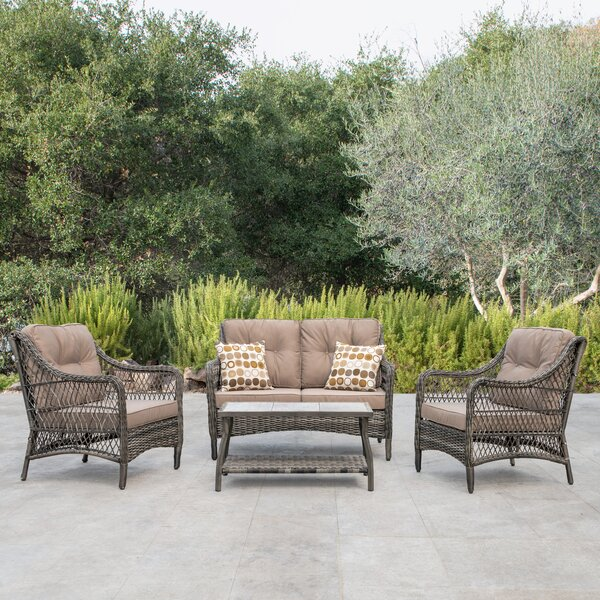 Pelletier 4 Piece Deep Sofa Seating Group with Cushions by Bay Isle Home